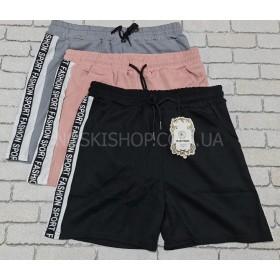 """Шорты женские """"BLACK CYCLONE"""" 33-1 из легкой ткани софт с лампасами по бокам, спереди карманы р. L-(44-46) -(пудра, черный)"""
