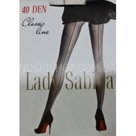 """Колготки Lady Sabina """"Line -ШОВ"""" 40 ден  р. 2, 3, 4, 5  -(чёрные +сзади имитация шва)"""